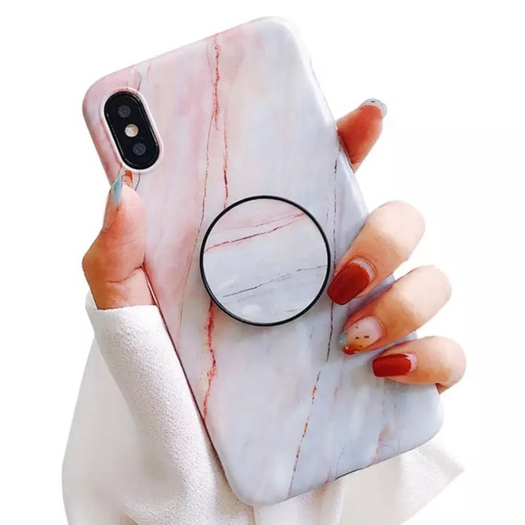 on sale 93293 9d8ee LAST 1 !! NEW iPhone XR Marble Popsocket Grip Case Boutique